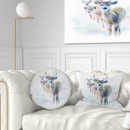 - DESIGN ART Designart 'Beautiful Deer With Big Horns' Animal Throw Pillow