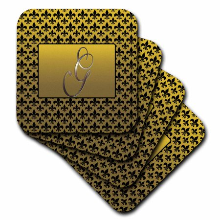 - 3dRose Elegant letter G embossed in gold frame over a black fleur-de-lis pattern on a gold background - Soft Coasters, set of 8