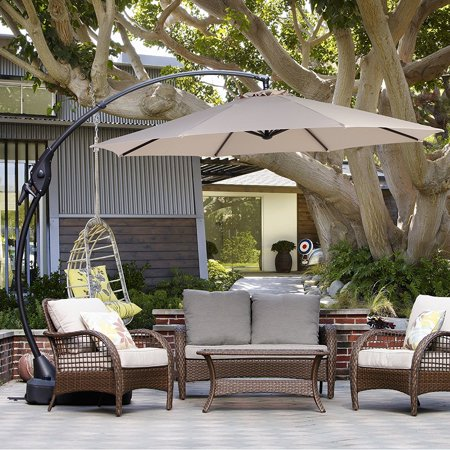 Grand Patio 10 Ft Umbrella With Crank Handle And Base 8 Ribs Large Curvy Aluminum Offset