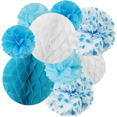 Wrapables® Set of 21 Tissue Honeycomb Ball and Pom Pom Party Decorations for Weddings, Birthday Parties Baby Showers and Nursery Decor, Blue/ Light Blue/ Aqua/ White (Baby Shower Decor)