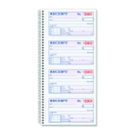 2 Parts Carbonless Duplicate Spiral Bound Money-Rent Receipt Book - White-Canary, Pack of
