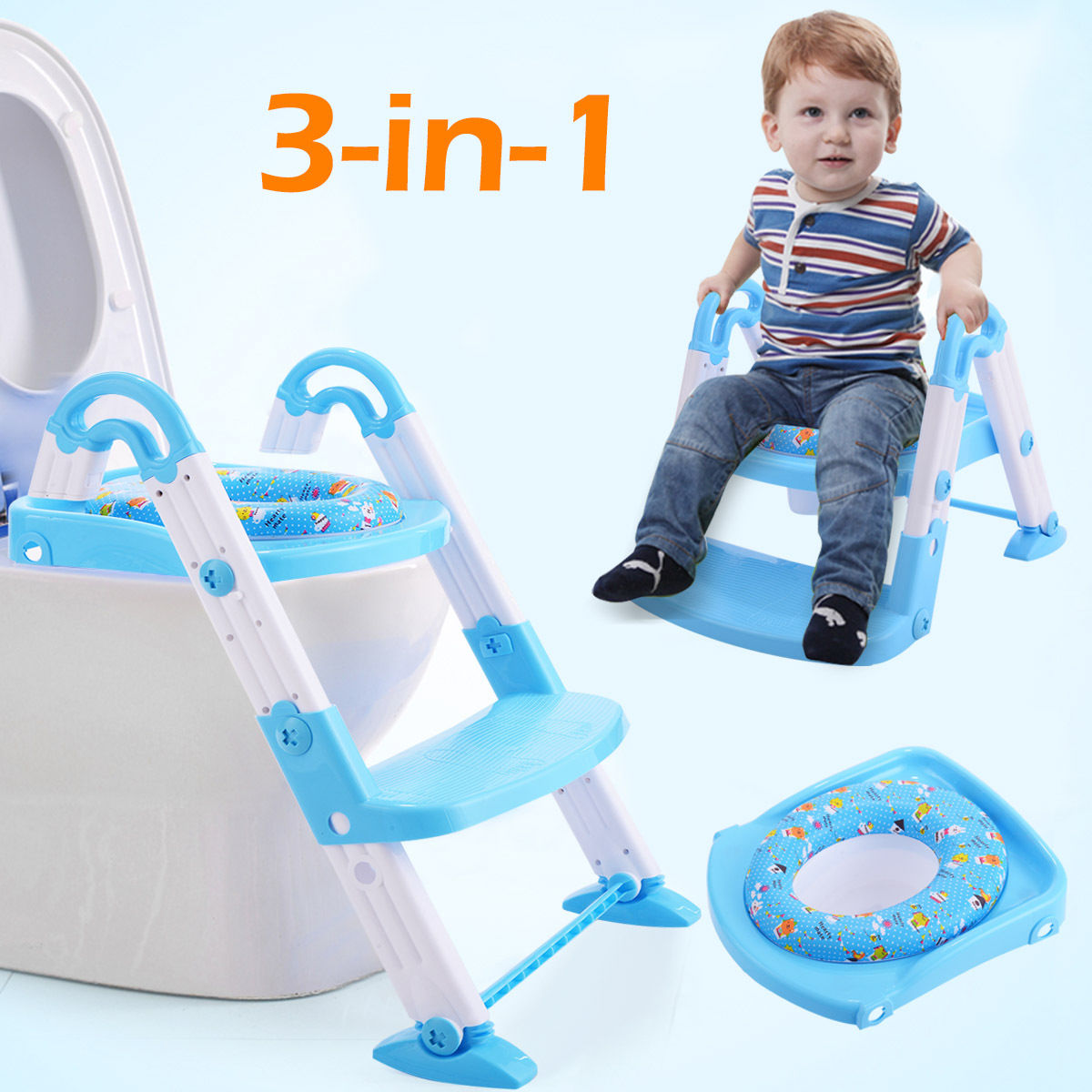 Costway 3 in 1 Baby Potty Training Toilet Chair Seat Step Ladder Trainer Toddler Blue by Costway
