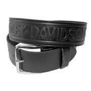 Men's Bar & Shield Winged Embossed Leather Belt HD-12