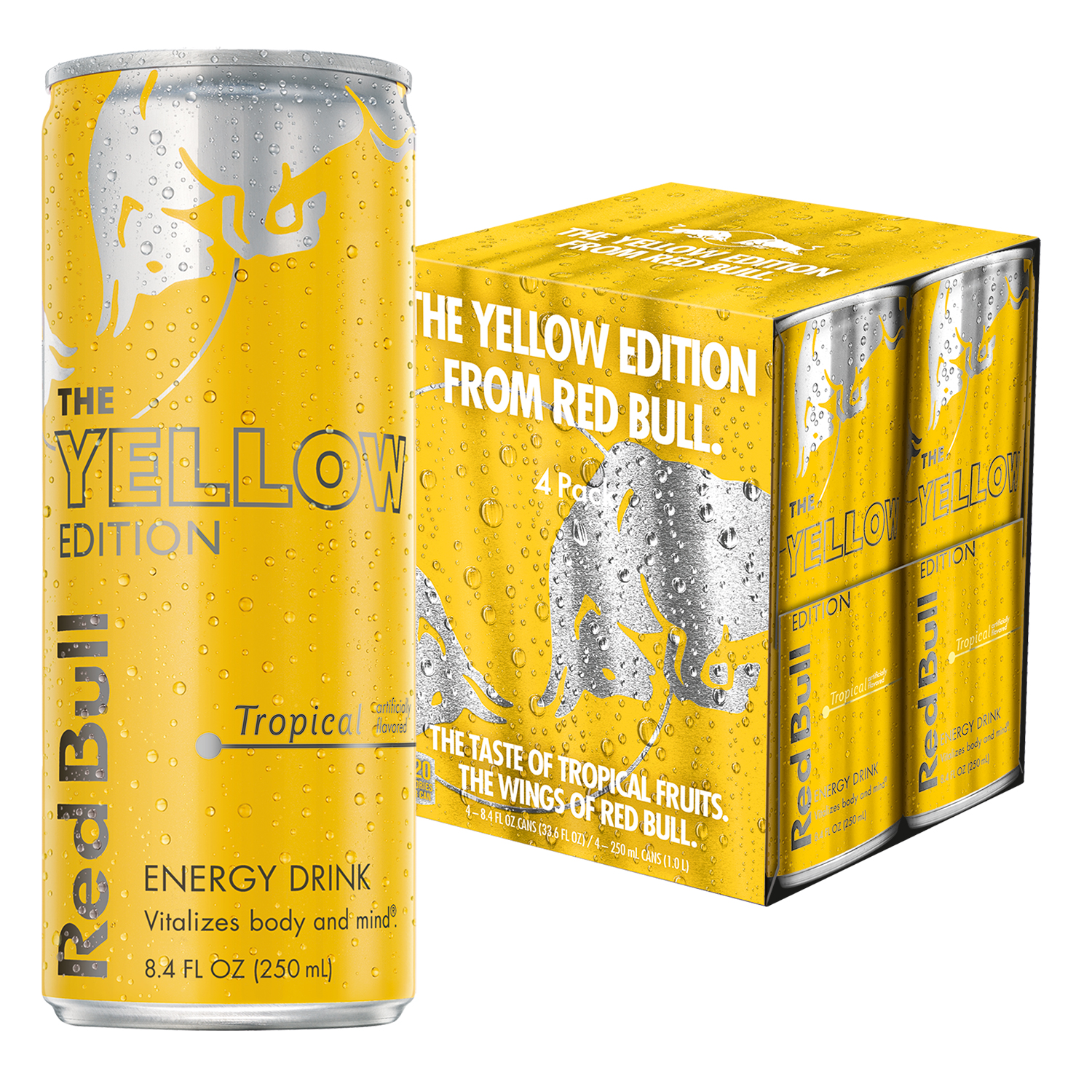 Red Bull Yellow Edition, Tropical Energy Drink, 8.4 Fl Oz Cans, 4 Pack