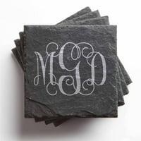 Personalized Slate Coasters - Monogram Set of 4