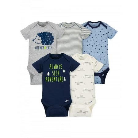 Gerber Baby Boy Short Sleeve Onesies Bodysuits, 5-Pack Guard Infant Onesie