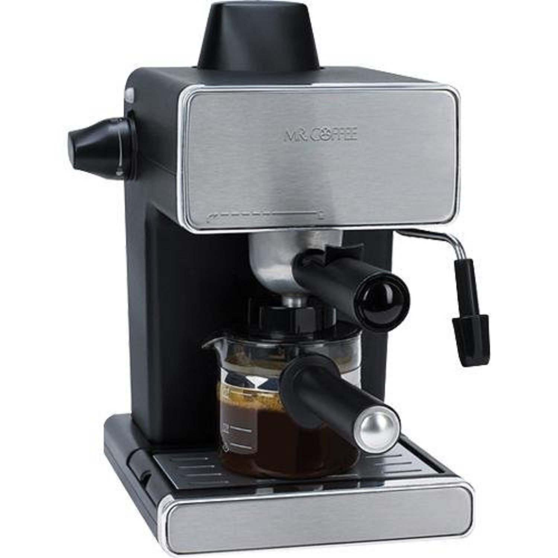 Mr. Coffee Steam Espresso Machine, Stainless Steel Black (Certified Refurbished) by MR.COFFEE