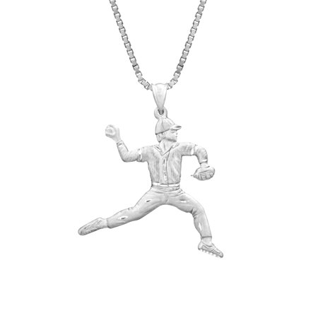 Sterling Silver Baseball Player Necklace Pendant with 18
