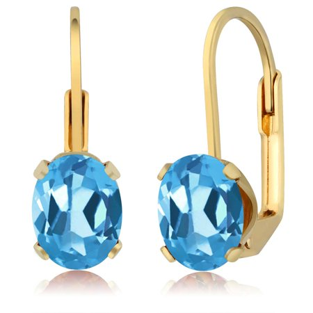3.00 Ct Oval Shape Swiss Blue Topaz Yellow Gold Plated Brass Dangle Earrings