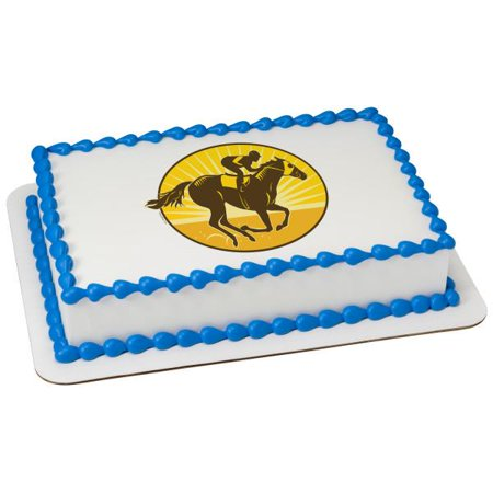 Horse Racing Edible Cake Topper Image - Horse Racing Cake Designs