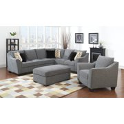 Emerald Home Calvina Gray Sectional, with Pillows, Loose, Knife Edge Back Cushions And Flared Arms