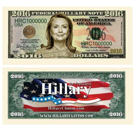 "10 Hillary Clinton 2016 Presidential Dollar Bill with Bonus ""Thanks a Million"" Gift Card Set](Clinton Cards Halloween Stuff)"