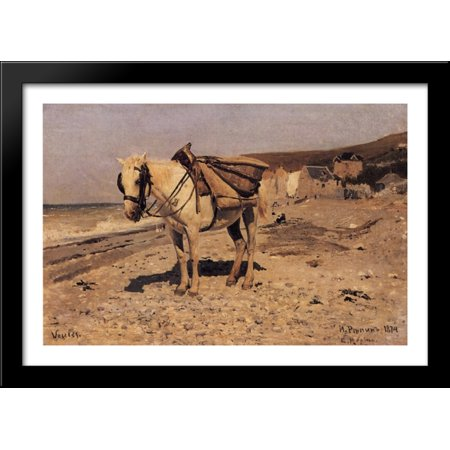 Stone Metal Horse (Horse for the stones collecting in the Vela 40x28 Large Black Wood Framed Print Art by Ilya Repin)