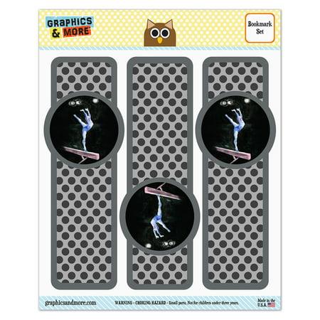 Gymnast Blue Gymnastic Vault Pommel Horse Glossy Laminated Bookmarks   Set Of 3
