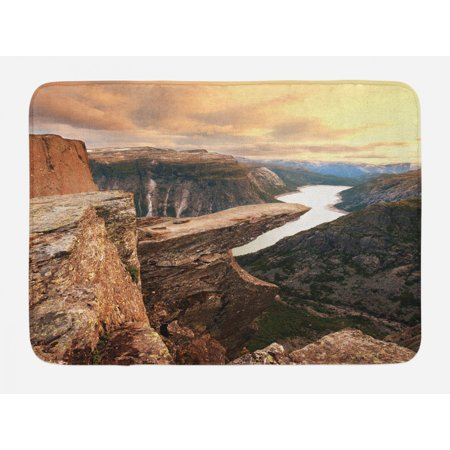 Mountain Bath Mat, Northern Mountains Canyon Landscape with Calm River in Norway Scenic Nature Tops, Non-Slip Plush Mat Bathroom Kitchen Laundry Room Decor, 29.5 X 17.5 Inches, Brown Green, Ambesonne