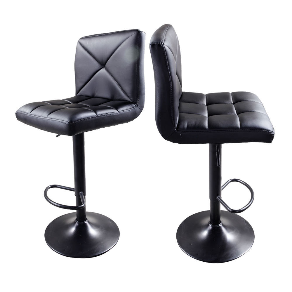 UBesGoo 2pcs Adjustable High Bar Stools Type Disk Without armrest Crossover Design Chair Black