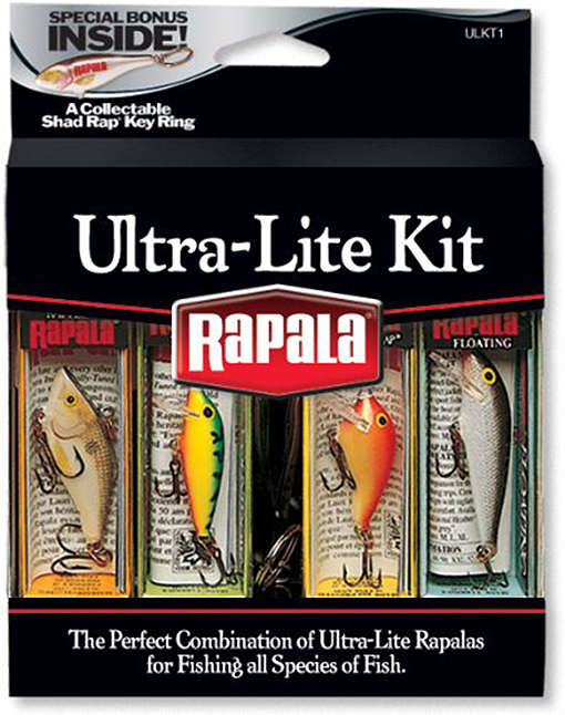 Click here to buy Rapala Ultra Lite Kit Fishing Lures with Collectable Shad Rap Key Ring by Rapala.