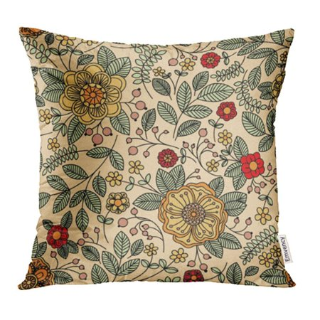 CMFUN Brown Antique Floral Vintage for Retro Beige Leaf Organic Line Flower Beauty Pillow Case Pillow Cover 20x20 inch Throw Pillow -