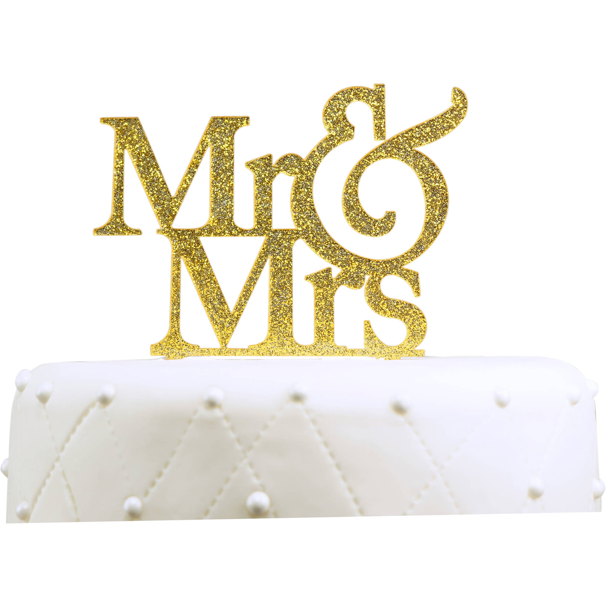 """Unik Occasions """"Mr. and Mrs."""" Large Acrylic Cake Topper, Gold Glitter"""