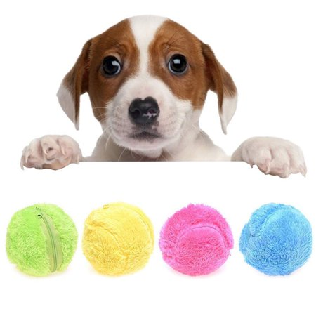 CHLTRA Magic Roller Ball Toy Automatic Roller Ball Magic Ball Dog Cat Pet Toy Plush Floor Clean Nontoxic Safe Pet Plush Ball(1 Rolling Ball + 4 Color Ball Cover) (Automatic Ball Return)