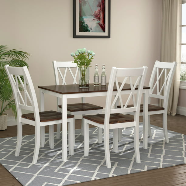 5 Piece Dining Set, Industrial Style Wooden Kitchen Table and