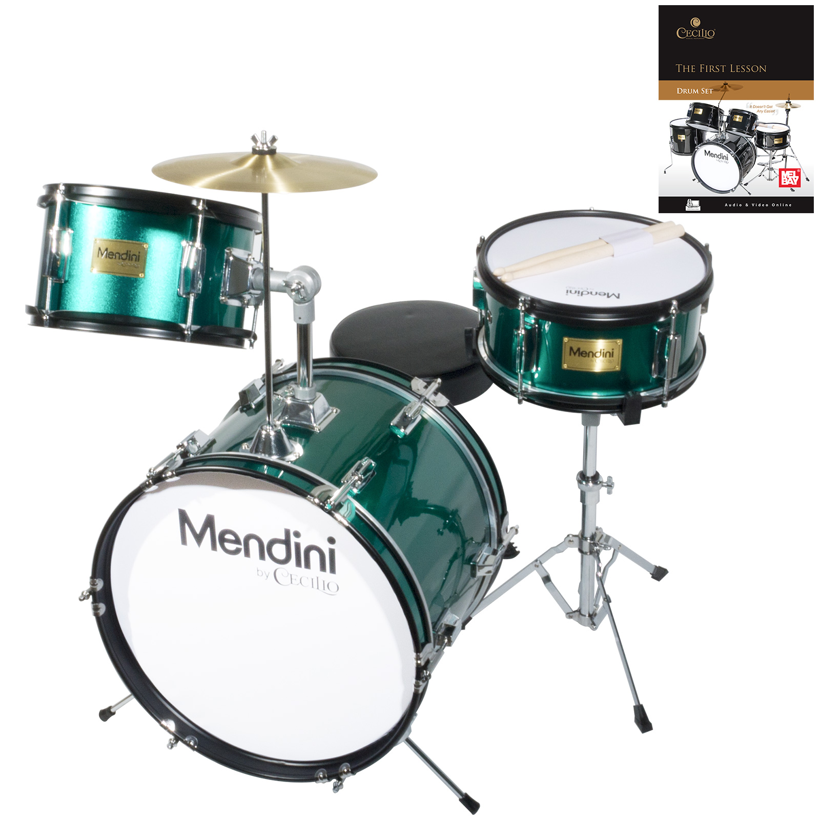 "Mendini by Cecilio 16"" 3-Piece Kids / Junior Drum Set with Adjustable Throne, Cymbal, Pedal, Drumsticks & Lesson Book, Metallic Green, MJDS-3-GN"