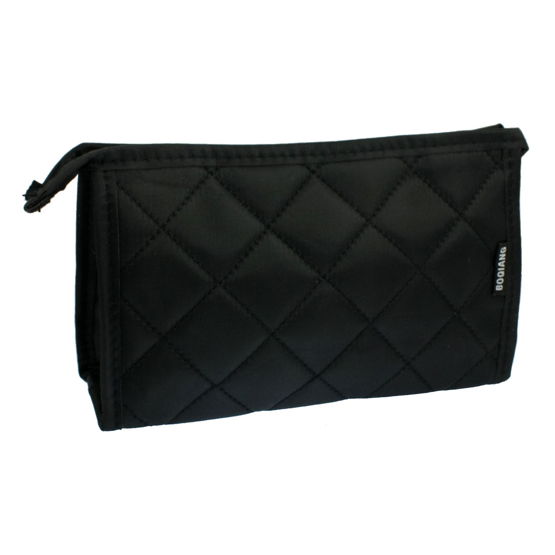 Check Print Zip Up Make Up Black Cosmetic Pouch Bag w Mirror for Women