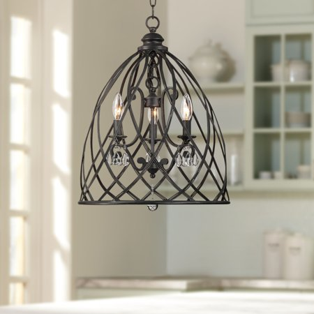 Madera Mini Chandelier - Franklin Iron Works Bell Cage 22