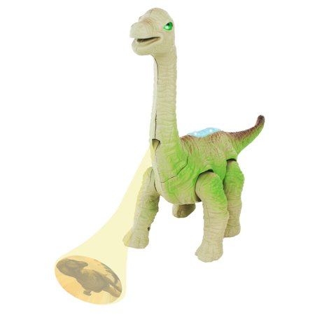 Dinosaur Brachiosaurus Battery Operated Walking Toy Dinosaur Figure w/Light Projection, Light Up Eyes, Realistic Movement (Colors May Vary) - Light Up Toys.com