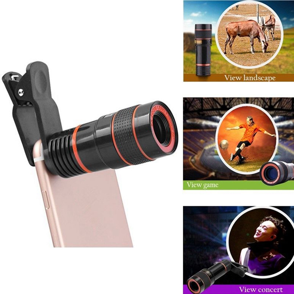 Universal 14X Zoom Optical Clip-on Telescope Telephoto HD Phone Camera Lens For Mobile