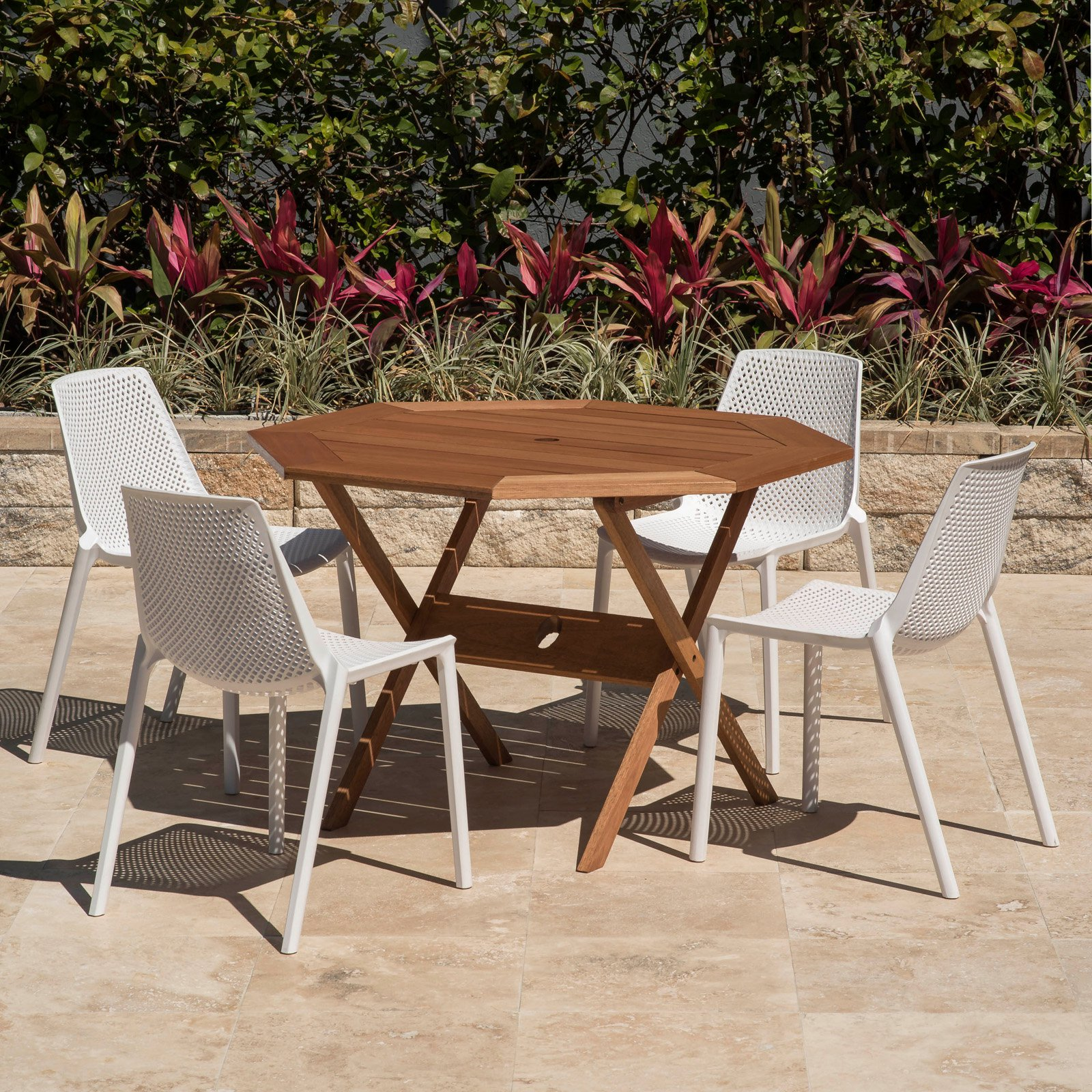 Amazonia Positiano 5 Piece Octagonal Patio Dining Table Set