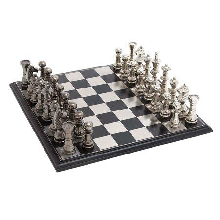 Decmode Aluminum Wood Chess Set, Multi Color Bronze Metal Chess