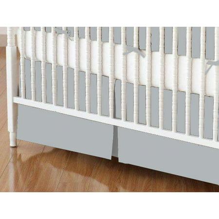SheetWorld Crib Skirt - Solid Grey Woven