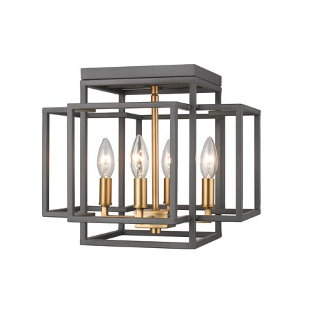 Flush Mounts 4 Light Fixtures With Bronze and Olde Brass Finish Steel Material Candelabra 14
