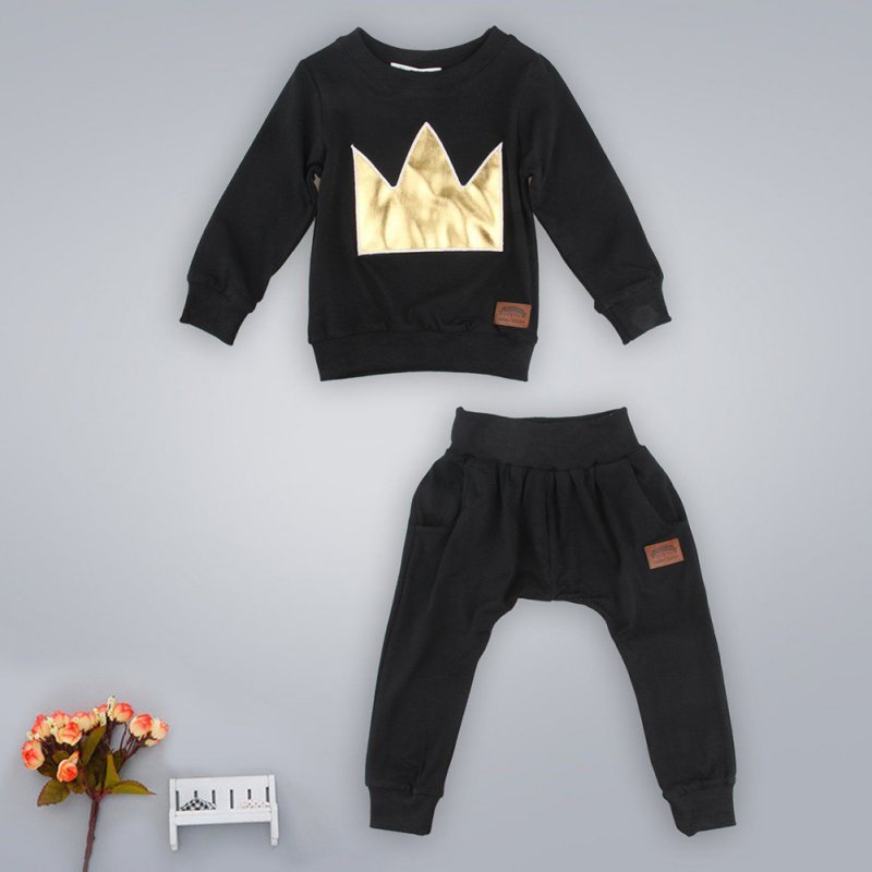 Kacakid 2 Pcs Newborn Infant Baby Boys Girls Cotton Clothes Set T-shirt Tops+Pants Outfits