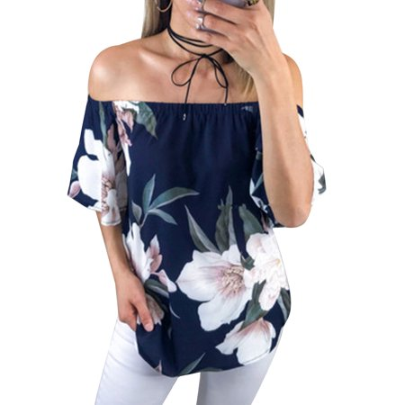 High Low Hem T-Shirt for Women Flower Print Vintage Style Tops Ladies Off Shoulder Casual Baggy - Style Off Shoulder