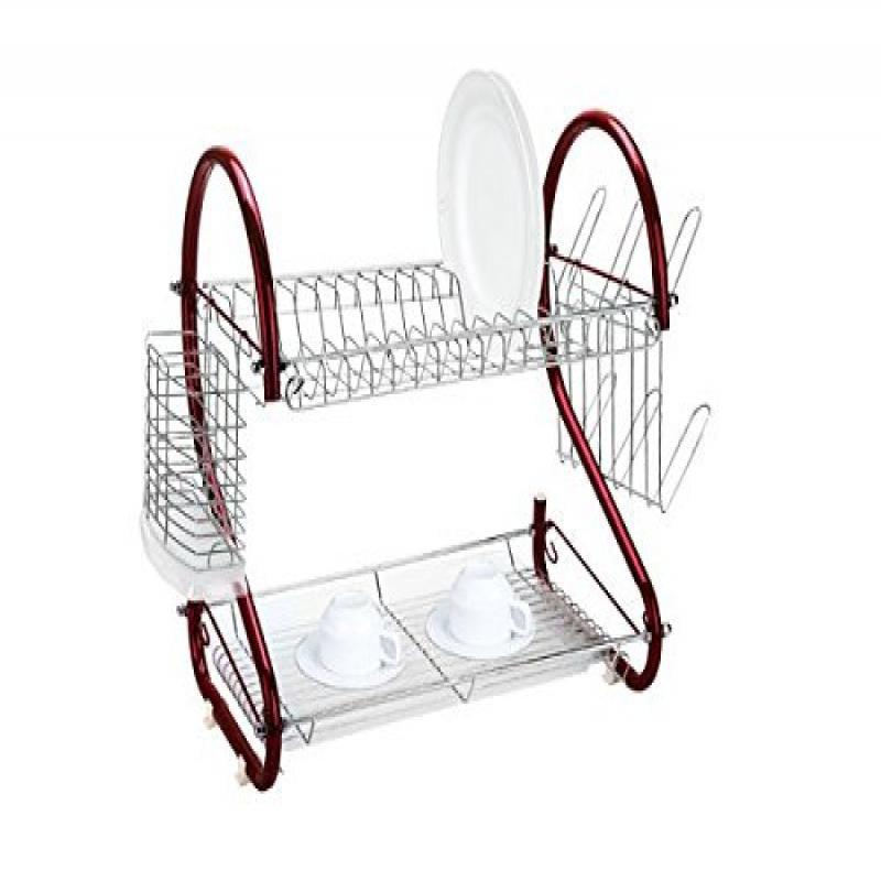 Home Basics 2 Tier Dish Rack Walmart Com