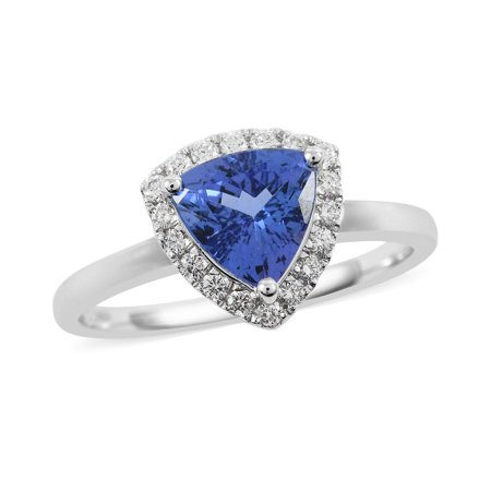 ILIANA 18K White Gold AAA Premium Tanzanite Diamond Bridal Engagement Wedding Halo Ring Women Anniversary Gifts for Her Jewelry for Size 9 Ct 3.8 G-H Color SI1 Clarity