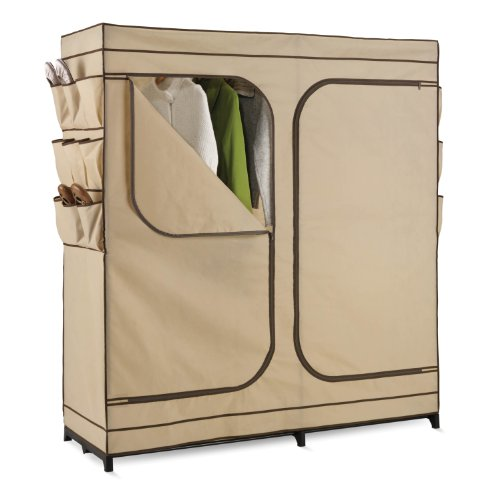 Honey-Can-Do WRD-01272 Double Door Storage Closet with Shoe Organizer 60-Inch