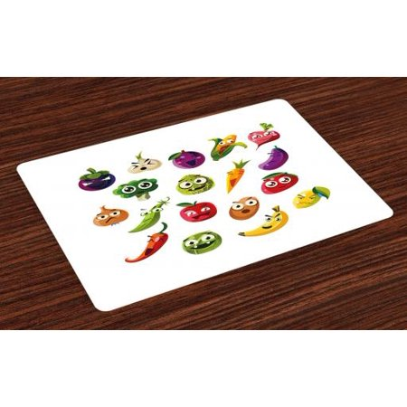 Emoji Placemats Set of 4 Fruits and Vegetables Carrot Banana Pepper Onion Garlic Food Cartoon Style Symbols, Washable Fabric Place Mats for Dining Room Kitchen Table Decor,Multicolor, by Ambesonne