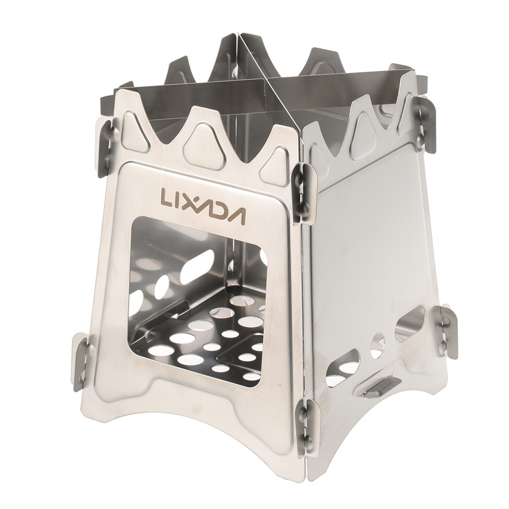 Lixada Compact Folding Wood Stove for Outdoor Camping Cooking Picnic