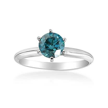 Blue Topaz Color Solitaire (1 1/2ct Treated Blue Diamond Solitaire Engagement Ring 14K White Gold Round)