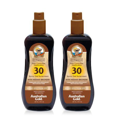 (2 Pack) Australian Gold SPF 30 Spray Gel Sunscreen w/ Instant Bronzer, 8 FL OZ