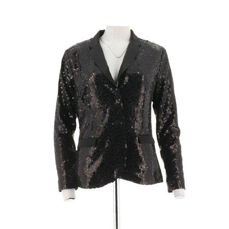 Lisa Rinna Collection Button Front Sequin Blazer A298372](Gold Sequin Blazer)