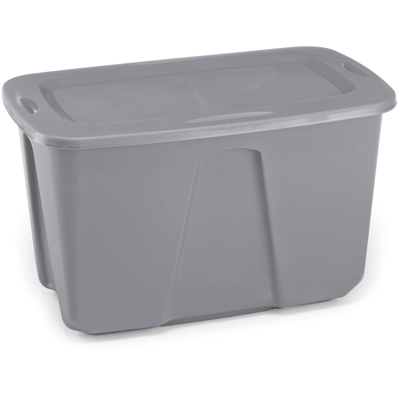 Homz 32 Gal. Plastic Storage Tote, Titanium Silver (Set of 6)