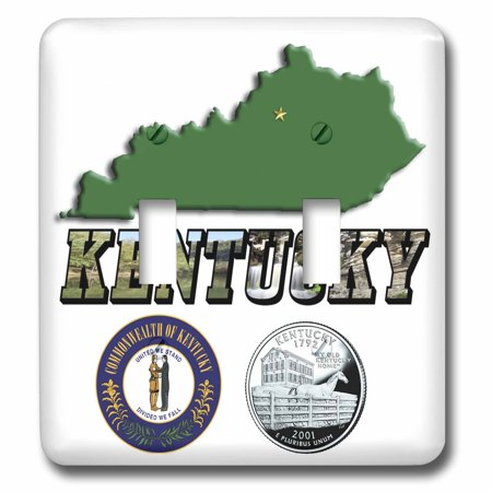 3dRose State Map, Seal, Quarter and Picture Text of Kentucky - Double Toggle Switch (lsp_55439_2)