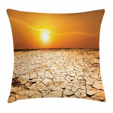 Desert Throw Pillow Cushion Cover, Drought Land and Hot Weather Climate Theme Sun Arid Country Landscape, Decorative Square Accent Pillow Case, 18 X 18 Inches, Sand Brown Orange Yellow, by Ambesonne - Desert Theme