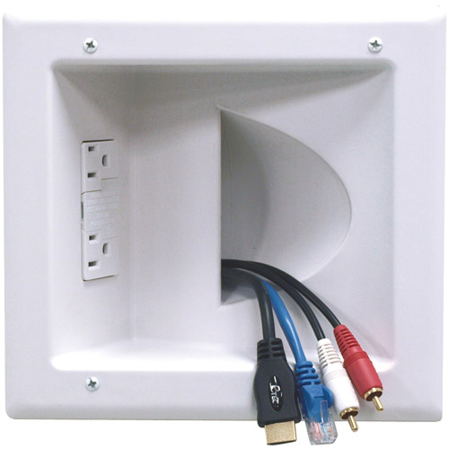 Datacomm Electronics 45-0041-wh Recessed Low-voltage Media Plate ;with Duplex Surge Suppressor