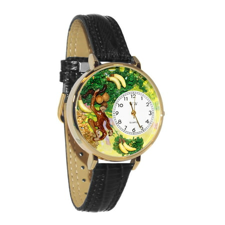 Monkey Black Skin Leather And Goldtone Watch