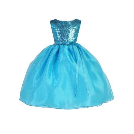 Ellie Kids Little Girls Turquoise Sparkle Sequin Belted Christmas Dress - Kids Christmas Dresses